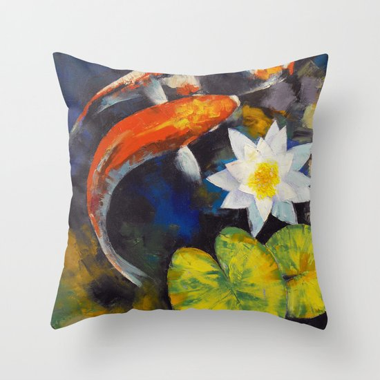 Koi fish and water lily throw pillow by michael creese for Koi fish pillow