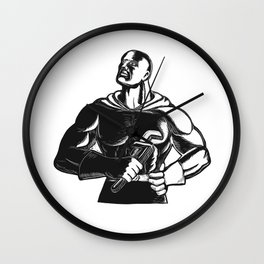 Superhero Plumber With Wrench Woodcut Wall Clock