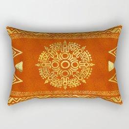 Gold Aztec Calendar Sun symbol Rectangular Pillow