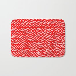 Scarlet Herringbone Lines Bath Mat