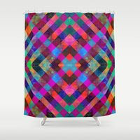 plaid Shower Curtains featuring Rio Plaid by Schatzi Brown