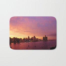 Detroit Skyline Sunset Bath Mat