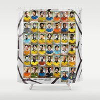 ronaldo Shower Curtains featuring Legends of Football (Soccer). by Ed Pires