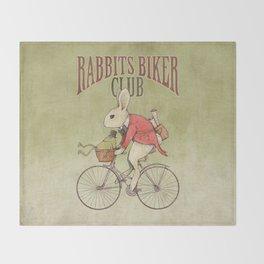 Rabbits Biker Club Throw Blanket