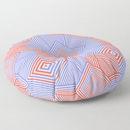 Colorful Blue And Red Geometric Shape Pattern Floor Pillow