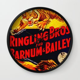 Vintage Circus Poster - Tiger & Lion Wall Clock