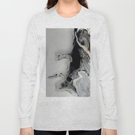 Black and Silver Fluid Macro Close-up Painting Long Sleeve T-shirt