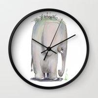 baby elephant Wall Clocks featuring Baby Elephant by Corner HL