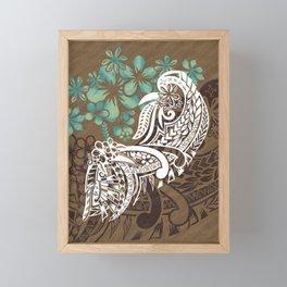 Vintage Hawaiian - Samoan Tribal Watercolor Design Framed Mini Art Print