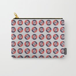 Simple geometric discs pattern red and silver Carry-All Pouch