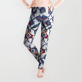 Iznik Tile Pattern Red Blue White Green Leggings