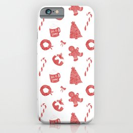 Red Christmas Holiday Pattern iPhone Case