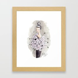 Flower and feather Retro Fashion Watercolor Illustration Framed Art Print