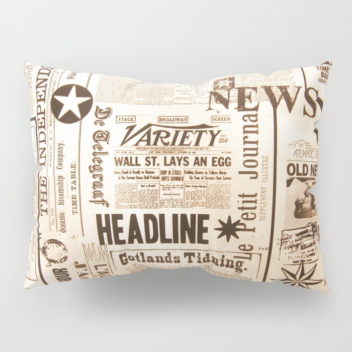 Vintage Newspaper Ads Black and White Typography Pillow Sham