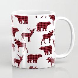 Plaid camping animals minimal bear moose deer nursery decor gender neutral woodland Coffee Mug