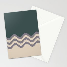 Magic Dust Muted Purple PPG13-24 & Sourdough Beige Wavy Horizontal Stripes on Night Watch Green Stationery Cards