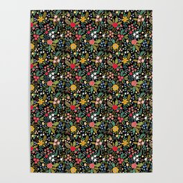 Amazing floral pattern with bright colorful flowers, plants, branches and berries on a black backgro Poster