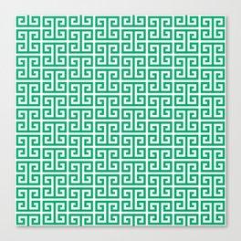 Jade and White Greek Key Pattern Canvas Print