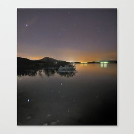 The Big star Sirius the Costelation of Orion and Taurus  reflected at the lake Canvas Print