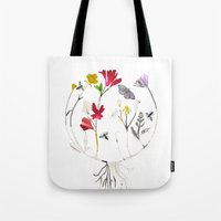 drum Tote Bags featuring Calico Drum by Ellie Knight Design & Illustration