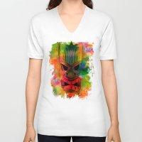 karu kara V-neck T-shirts featuring Tiki Kara by Ionic Slasher