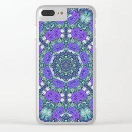 Purple Rose Kaleidoscope Clear iPhone Case