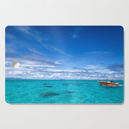 South Pacific Crystal Ocean Dreamscape with Boat Cutting Board