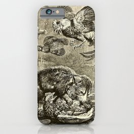 Vintage Print - All About Animals (1900) - Tasmanian Devil in a Henhouse iPhone Case