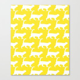 Minimal Cat Pattern Yellow Modern Canvas Print