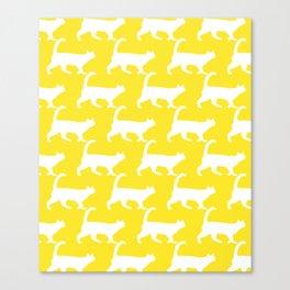 Minimal Cat Pattern Yellow Modern Canvas Print