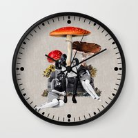eugenia loli Wall Clocks featuring Upper Class Dealer by Eugenia Loli