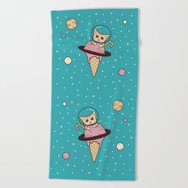 Space Cat on Ice Cream Planet Beach Towel