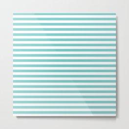 Small Horizontal Aqua Stripes Metal Print