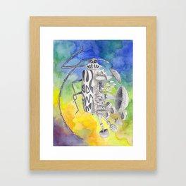 What is life? What is Death? n°9 Harlequin Beetle / Mushroom Watercolor Painting Framed Art Print