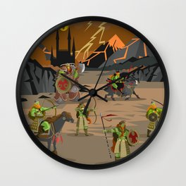 evil orcs in the castle valley Wall Clock