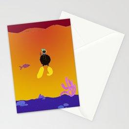 Eglantine la poule (the hen) is diving. Stationery Cards