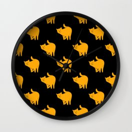 Cute Yellow Cats Pattern | Black Wall Clock