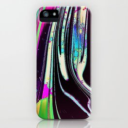 Lines and spots of color abstract digital painting iPhone Case