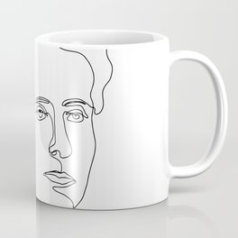 Minimalistic black and white line drawing Marie Curie Coffee Mug