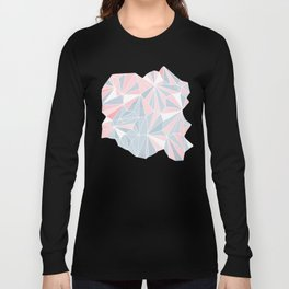 Cool blue/grey and pink geometric prism pattern Long Sleeve T-shirt