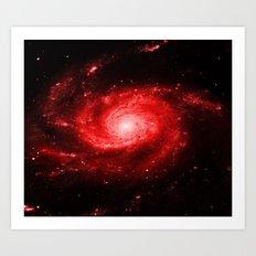 Spiral gAlaxy Red Art Print