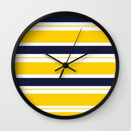 Yellow and Blue Horizontal Lines Stripes Wall Clock