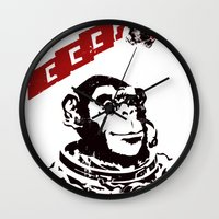 soviet Wall Clocks featuring Soviet Space Monkey by Chris Kawagiwa