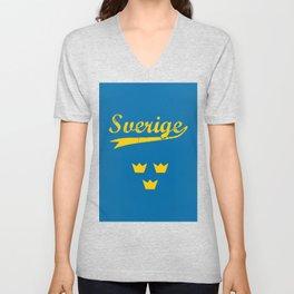 Sweden, Sverige, vintage poster Unisex V-Neck