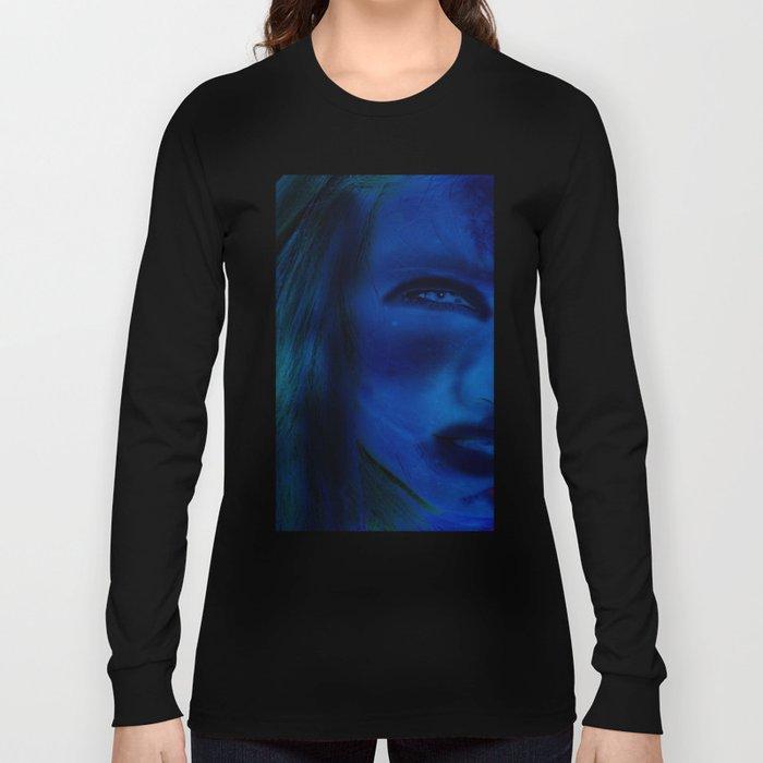 Blue Woman Long Sleeve T-shirt