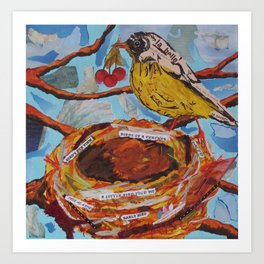 La Belle Bird & Nest Art Print