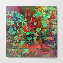 346 21 Abstract Rosevine Metal Print