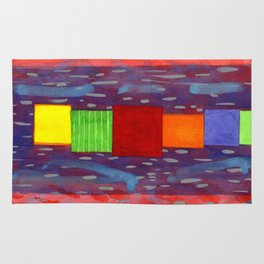 Colorful piled Cubes within free Painting Rug