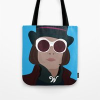 willy wonka Tote Bags featuring willy wonka by Mariana Andrea