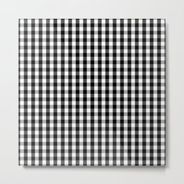Small Black White Gingham Checked Square Pattern Metal Print